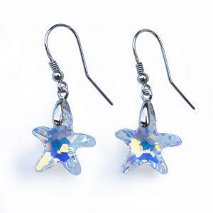 Srebrni uhani Starfish AB Swarovski
