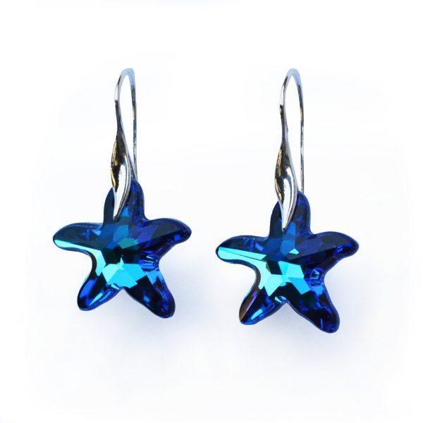 Srebrni uhani Starfish Bermuda Blue Swarovski