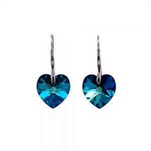 Srebrni uhani Heart Bermuda Blue Swarovski