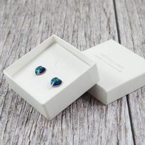 Srebrni uhani Cute Heart Bermuda Blue Swarovski