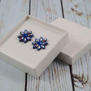 Modni uhani Alcantara Flower Blue Swarovski
