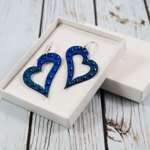 Modni uhani Alcantara Heart Lux Blue Swarovski