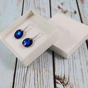 Srebrni uhani Sun Bermuda Blue Swarovski