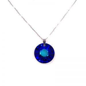 Srebrna ogrlica Sun Bermuda Blue Swarovski