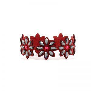 Modna zapestnica Alcantara Lux Flower Red Swarovski