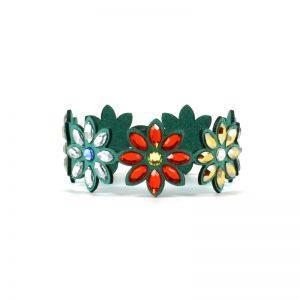 Modna zapestnica Alcantara Lux Flower Green Swarovski