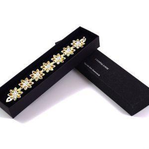 Modna zapestnica Alcantara Lux Flower Gold Swarovski