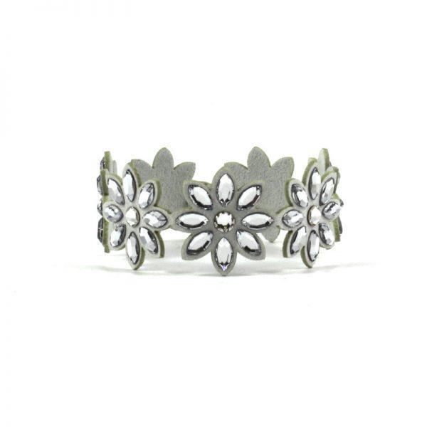 Modna zapestnica Alcantara Lux Flower Silver Swarovski