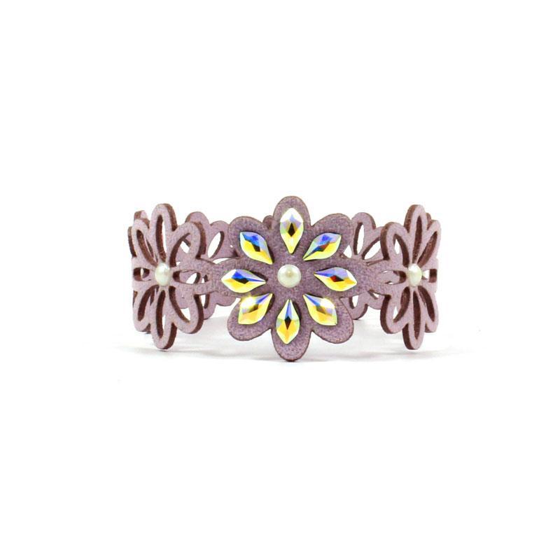 Nakit s kristali Swarovski - zapestnica Alcantara usnje lila Cvet