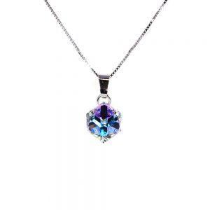 Srebrna ogrlica Cube Crystal AB Swarovski