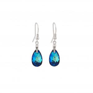 Srebrni uhani Pear S Bermuda Blue Swarovski
