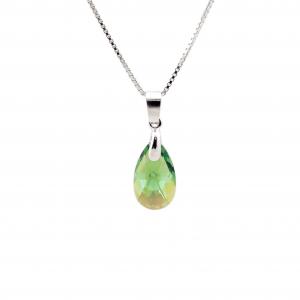 Srebrna ogrlica Pear S Erinite Shimmer Swarovski
