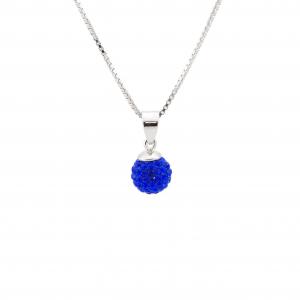 Srebrna ogrlica BeCharmed Majestic Blue Swarovski