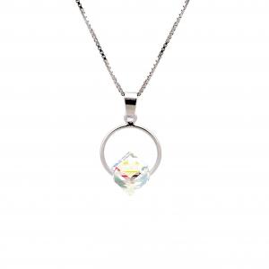 Srebrna ogrlica Cube Circle Crystal AB Swarovski