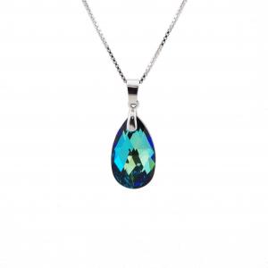 Srebrna ogrlica Pear Bermuda Blue Swarovski