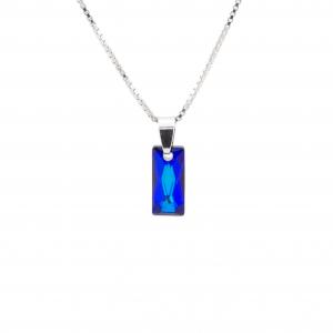 Srebrna ogrlica Queen Baguette S Bermuda Blue Swarovski