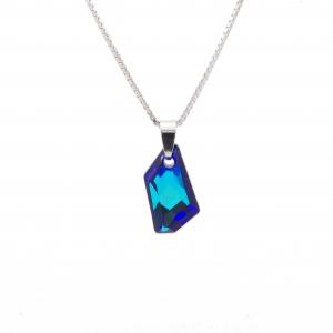 Srebrna ogrlica Galactic Vertical Bermuda Blue Swarovski