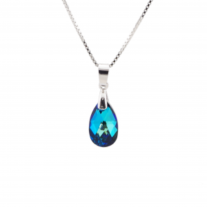 Srebrna ogrlica Pear S Bermuda Blue Swarovski i
