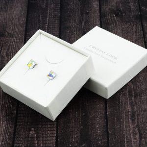 Srebrni uhani Cube AB Crystal Swarovski