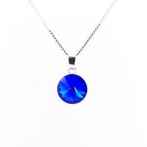Srebrna ogrlica Rivoli Majestic Blue Swarovski