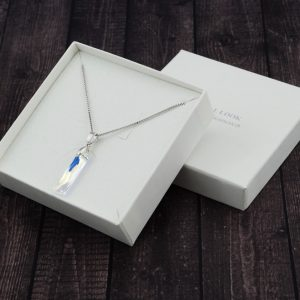 Srebrna ogrlica Queen Baguette Crystal AB Swarovski