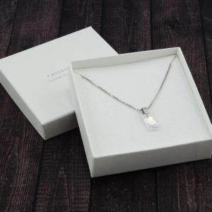 Srebrna ogrlica Queen Baguette S Crystal AB Swarovski