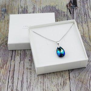 Srebrna ogrlica Pear S Bermuda Blue Swarovski