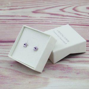 Srebrni uhani Flower Violet Swarovski