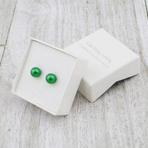 Srebrni uhani Pearl Crystal Green Swarovski