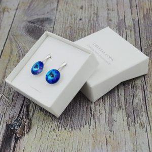 Srebrni uhani Rivoli Royal Blue DeLite Swarovski