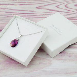 Srebrna ogrlica Pear Amethyst Swarovski