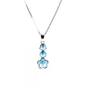 Srebrna ogrlica Flower Lux Aquamarine Swarovski