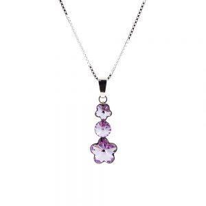 Srebrna ogrlica Flower Lux Violet Swarovski