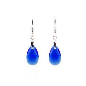 Srebrni uhani Pear S Majestic Blue Swarovski