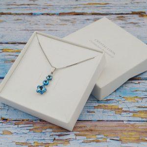 Crystal Look srebrna ogrlica z obeskom iz Swarovski kristalov