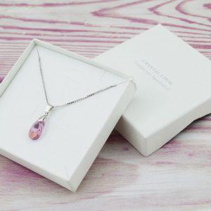 Srebrni nakit - Srebrna ogrlica Pear S Light Amethyst Swarovski