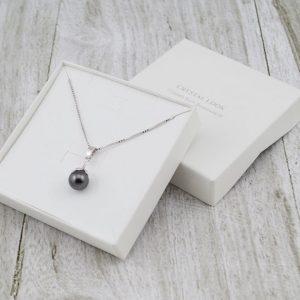 Srebrna ogrlica Pearl Grey Swarovski