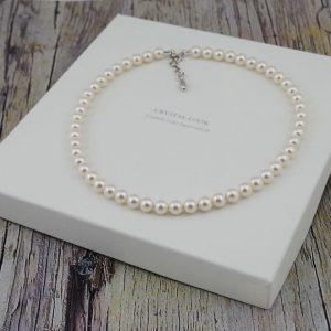 Srebrna ogrlica Pearl Crystal White Swarovski