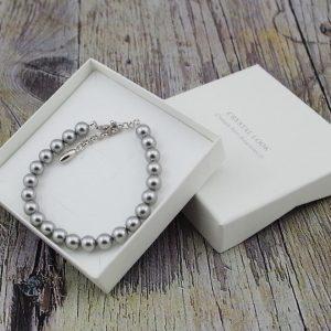 Srebrna zapestnica Pearl Crystal Light Grey Swarovski