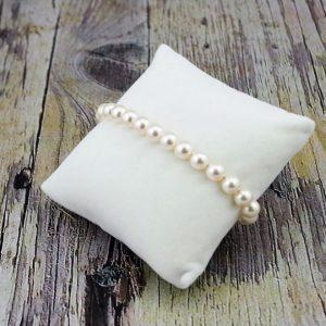 Srebrna zapestnica Pearl Crystal White Swarovski