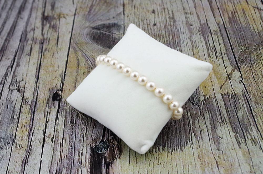 Nakit iz srebra - Srebrna zapestnica Pearl Crystal White Swarovski