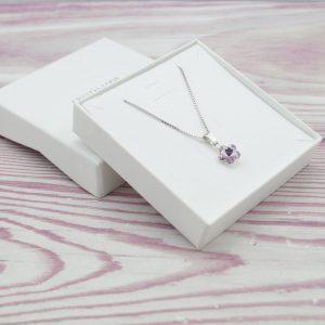 Srebrna ogrlica Flower Violet Swarovski