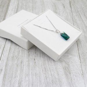 Srebrna ogrlica Emerald Cut Swarovski