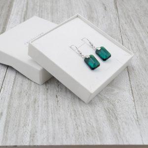 Srebrni uhani Emerald Cut Swarovski