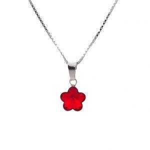 Srebrna ogrlica Flower Siam Swarovski