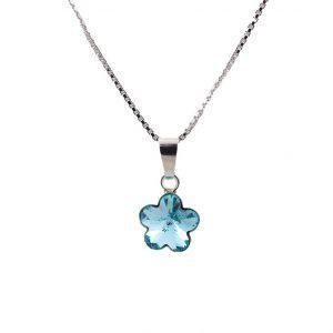 Srebrna ogrlica Flower Aquamarine Swarovski