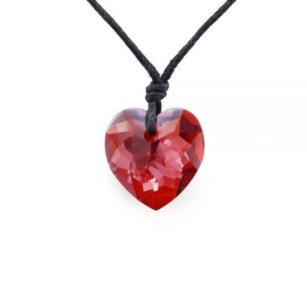 Ogrlica Heart Dark Red Swarovski