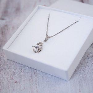 Otroška srebrna ogrlica Morska deklica kristal Swarovski