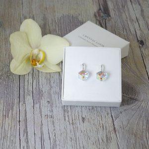 Srebrni nakit - Srebrni uhani Cube AB Swarovski