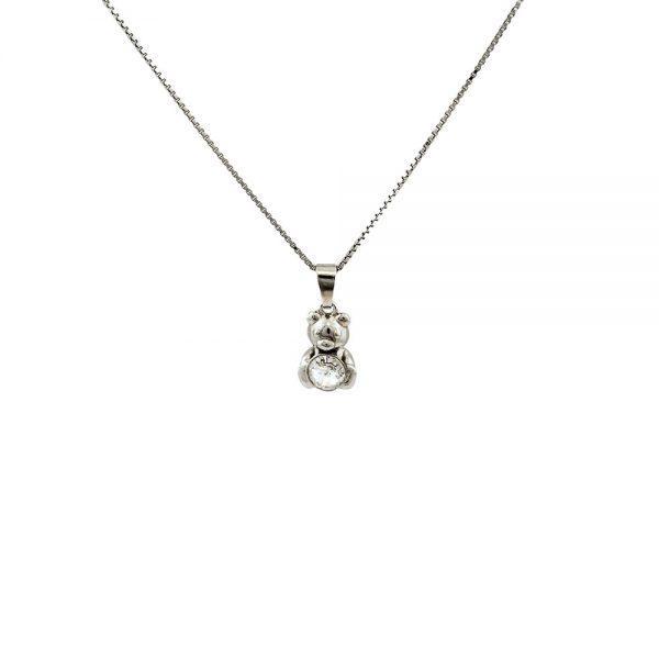 Srebrna ogrlica Bear Crystal Swarovski
